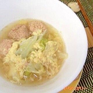 とろとろキャベツ&ふわふわツナ団子の和スープ
