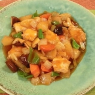 鶏肉と野菜の甘酢あんかけ炒め