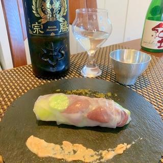 日本酒にワインに、ホタルイカの生春巻き