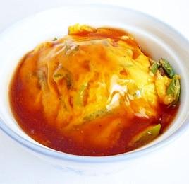 長ねぎと卵の甘酢あんかけ天津丼