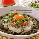 ひきわり納豆とシラスのネバネバ冷やし蕎麦