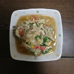 ぬくぬくお豆腐♡カニカマと舞茸のかき玉あん