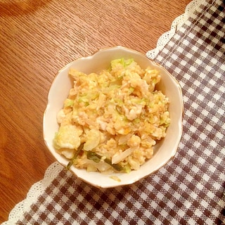 キャベツの千切りリメイクの炒り卵