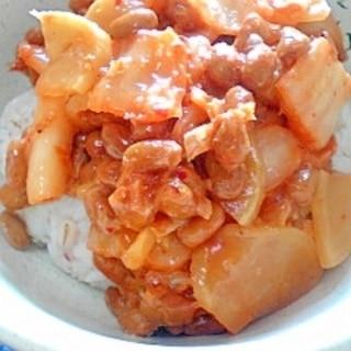 納豆の食べ方-たくあんキムチ♪