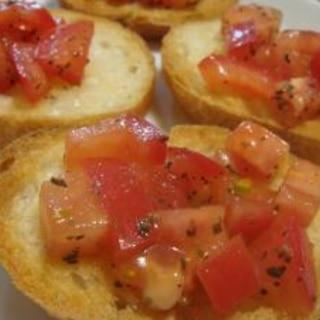 トマトとバジルのガーリックトースト(ブルスケッタ)