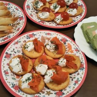 スモークサーモンとクリームチーズのカナッペ☆