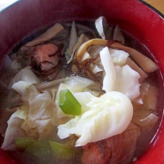 鮭ともずく野菜(人参キャベツ牛蒡)スープ