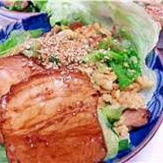 自家製焼豚とレタスの炒飯