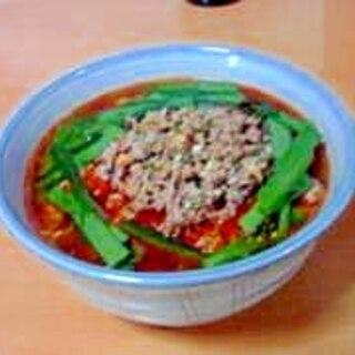 即席麺で台湾ラーメン(辛)。
