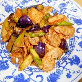 茄子・豆腐・アスパラ・豚肉の味噌たれ炒め