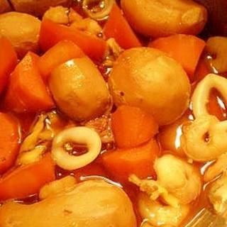 おつまみに☆里芋とシーフードのピリ辛!煮っころがし