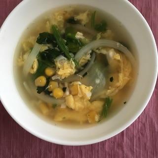 ひき肉で満足感UP☆コーンの中華スープ