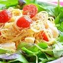 野菜たっぷり! ホタテとミニトマトのサラスパ