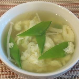 簡単*卵と絹さやとえのきの中華スープ