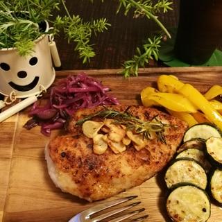 パリパリむね肉と夏野菜のグリル