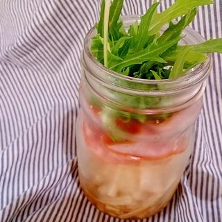 メイソンジャー 甘酢大根スライスハム水菜のサラダ