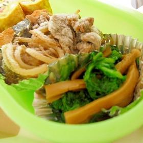 わさび菜とメンマの炒め物