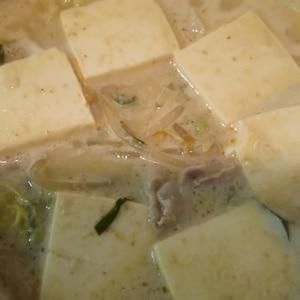 激ウマ!味噌ゴマ豆乳鍋。〆は卵とチーズで。