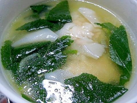 モロヘイヤとワンタンのスープ