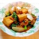 厚揚げと小松菜と豚肉の生姜味噌炒め