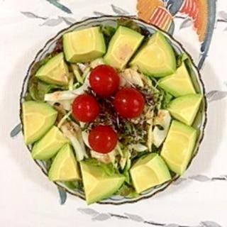 セロリ、胡瓜、アボガドのサラダ