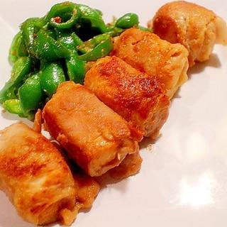 【漬けて保存】味噌漬け豚の肉巻き豆腐 ピーマン添え