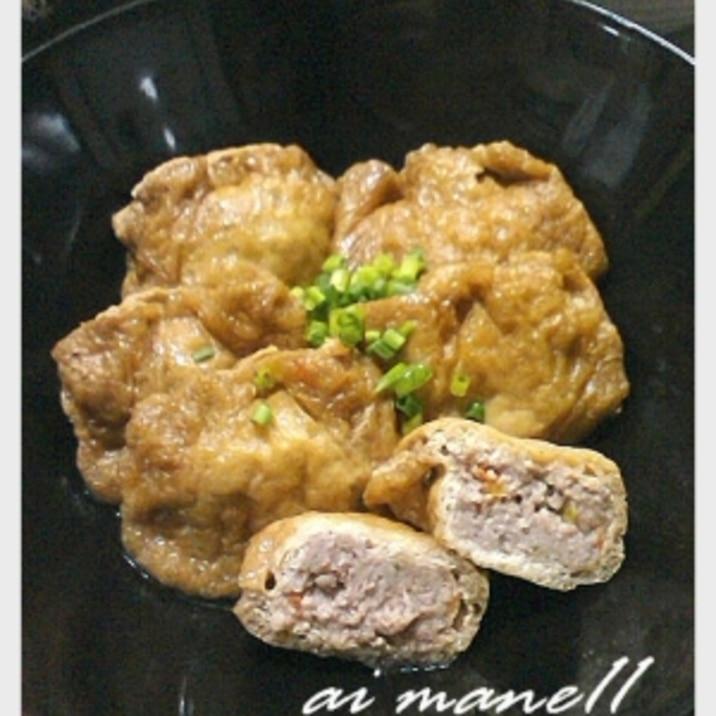 混ぜて詰めて煮るだけ!油揚げの豚挽き肉入り巾着煮