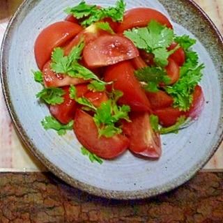 トマトとパクチーのオリーブオイルソース