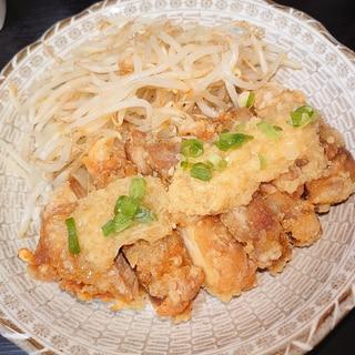 ジャンツォンジャンで食べる鶏竜田揚げとゆでもやし