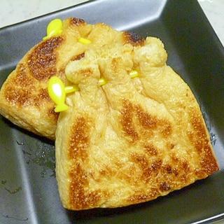 簡単♪おつまみ♪ウインナーとチーズの油揚げ包み焼き