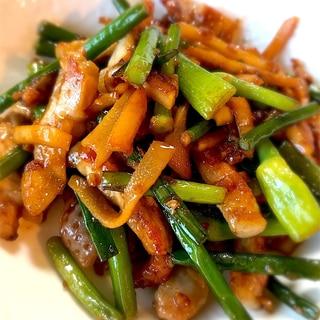 豚ロースと筍とにんにくの芽で簡単美味しい炒めもの*