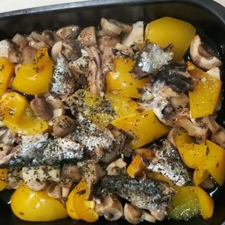 オイルサーディンと野菜のグリル