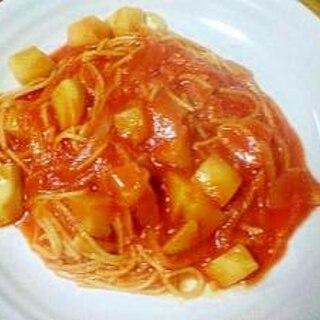 麺を茹でない♪トマト煮込みパスタ