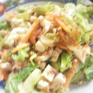 豆腐とキャベツ人参の炒め物