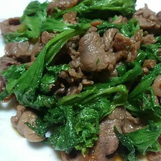 ワサビ菜と牛肉の炒めもの