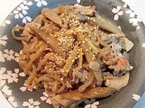 生姜たっぷり!牛蒡と豚肉炒め