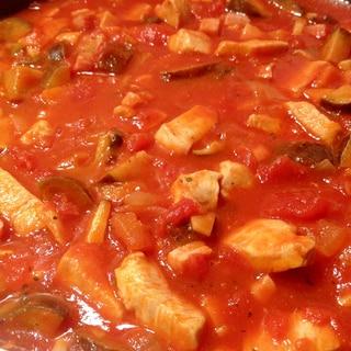 鶏胸肉となすのトマト煮込み