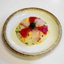 紅白黄緑で彩り鮮やかな押し寿司!鮪と鯛のちらし寿司