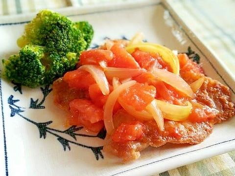 カリカリ豚肉とトマトのスイチリ焼き♪