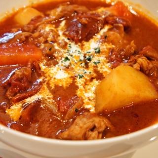 圧力鍋を使って♪柔らかラム肉のトマトシチュー