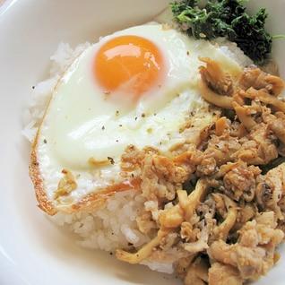 15分で簡単✨たもぎ茸と豚バラの甘辛炒め丼✨