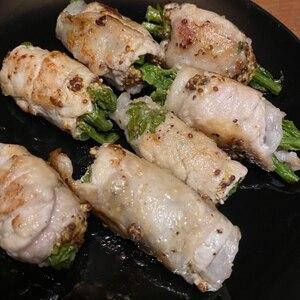 10分レシピ★菜の花のスパイシー豚しゃぶ巻き