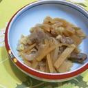 新生姜と牛筋・こんにゃくの炒め物