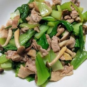 豚肉とチンゲン菜としめじの焼肉のタレ炒め