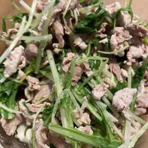 子供が大好き!豚しゃぶと水菜の大葉ゴマドレ和え♪