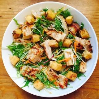 塩麹鶏モモ肉と揚げ高野豆腐のせサラダ