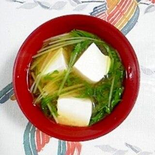 塩とうふと水菜のお味噌汁