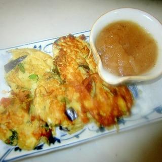 ナスと小海老とインゲンの揚げない天ぷら