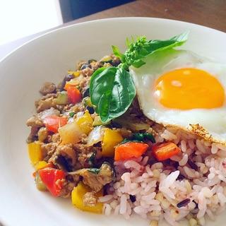 ジャージャー麺の肉味噌アレンジ*ガパオライス