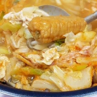 韓国風大衆鍋(^^)ごぼう天+豚肉+野菜プデチゲ♪